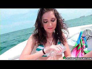 Latina hottie sucks cock on A boat