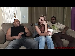 Bigtits babe in black cock threeway