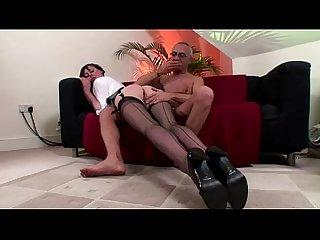 Office slag cumshot on stockings