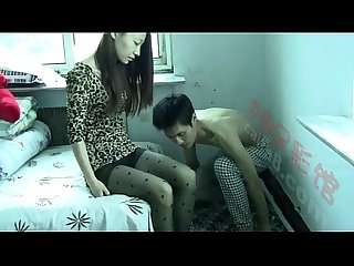 Chinese stocking worship n trample