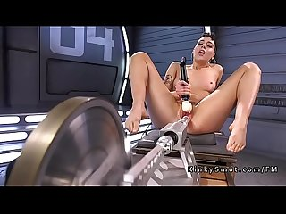 Tall babe fucks machine and gags herself
