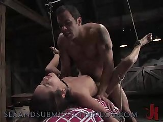 Bound tied in rope brunette rough fucked