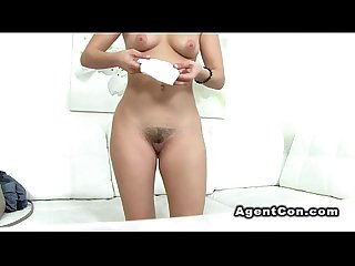 Amateur with nice smile rides cock in casting