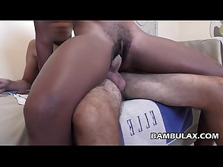 Ebony hairy vagina versus shaved white cock