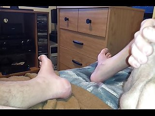 Rubbing cock against leg to cum