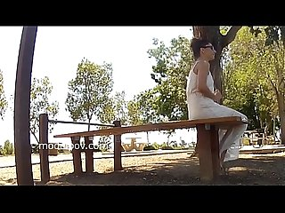 Hot dessert milf cheats on air force boyfriend pussy tits pet at public park