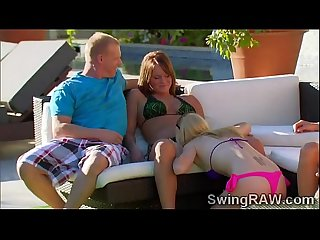 Babes get naughty at outdoors pool party in the swingers mansion