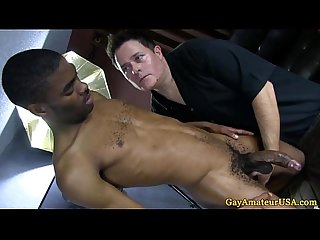 Straight guy has dick in gay mans hands