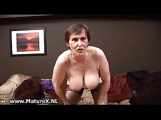 Sixty year old lady showing of her big