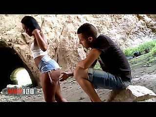 Hot Big Butt Black Babe Noe Milk gets fucked in a cave