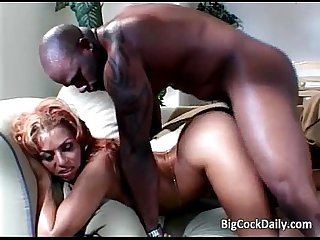 Ebony sweet heart yells while big black
