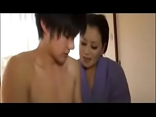 Asian Japanese Mom with her Young Son Fun