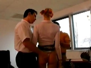 Blonde coed in socks fucked in threesome