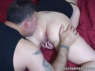 Mistress rubs her pussy while man licks her nice ass hole