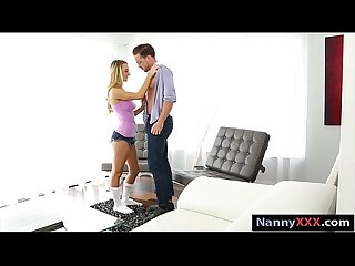 Skinny blonde teenie babysits hard dick