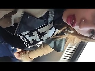 Cutie masturbating on the public train.