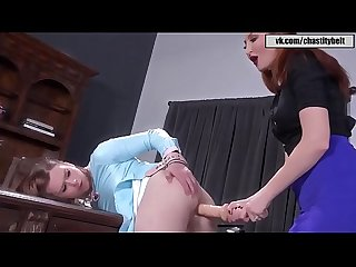 Taryn elizabeth gets strapon while in chastity