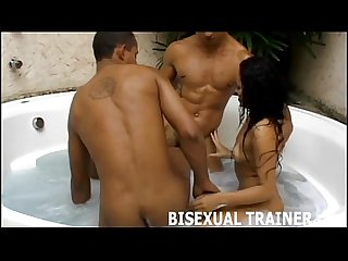 Get your ass pumped hard in a bisexual threesome