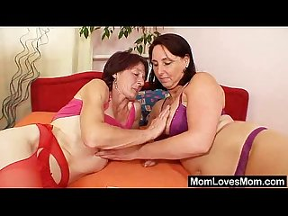 Unshaved grandmother toyed by well endowed mama lesbian