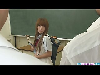 Two Guys Fuck Sana Anjus Tight Holes In Class