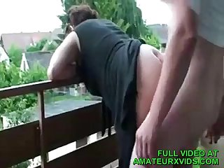 Mature Lady Was Horny For A Quickie With Me On Tha Balcony -