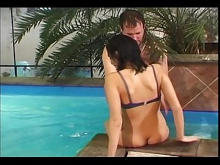 Teen fucks older man by the pool