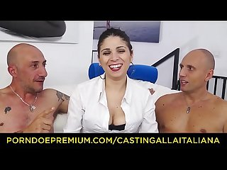 CASTING ALLA ITALIANA - Italian babe Deborah Sorrentino gets DP in hardcore threesome with Omar..