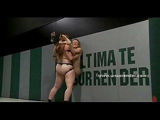 Teen lesbian sluts fight kinky wrestling