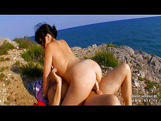 Amateur french whore banged and facialized on a beach