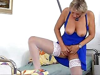 Blond granny S playing alone