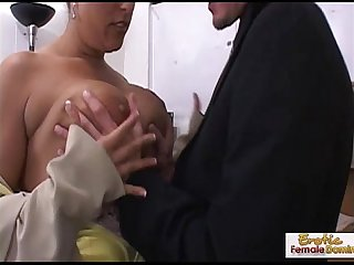Busty mature brunette makes a cock cum with her tits