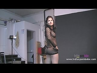 Indian porn babe Natasha black fishnet exposing tits
