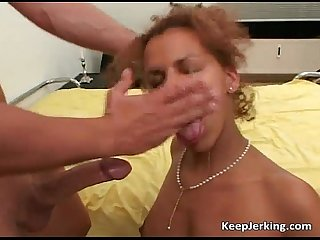 Horny black chick blows huge white cock