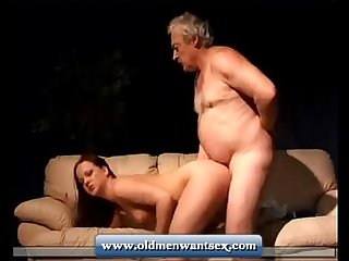 Young Girl takes Old man dick