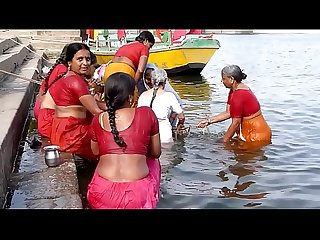 Indian old aunties bathing gonga openly. BIG ASS & BOOBS!!!