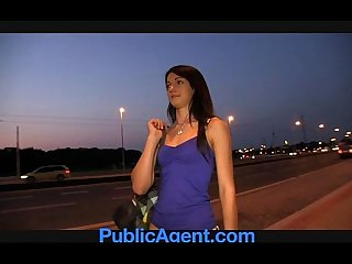 Publicagent sexy brunette loves my charm and money period