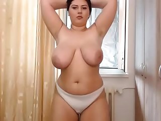 Beautiful sexy chubby woman strip show