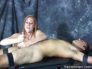 Mistress masturbates and slaps a horny man s cock