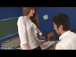 Japanese horny teacher in pantyhose fucks student