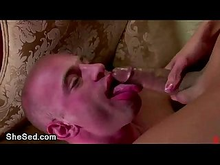 Bald gay rides shemale cock madly