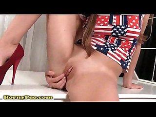 Busty brunette euro girl masturbate and piss