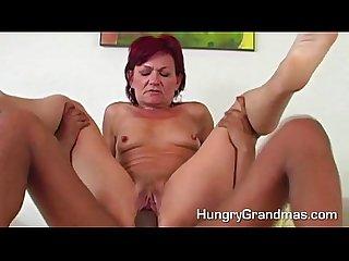 Slutty granny fucks big young cock