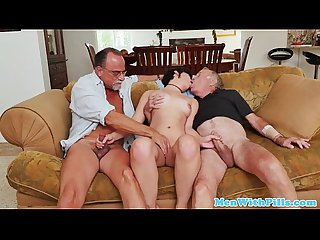 Teen amateur blowing cock in oldman trio