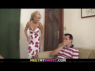 Blonde mom and Old dad have fun with son s Girlfriend