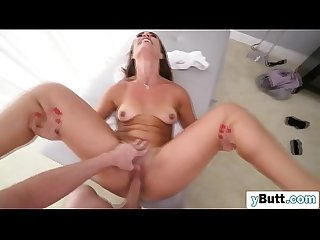Young brunette with awesome butt tries anal sex for the first time