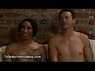 Ebony tranny anally fucks tied up dude