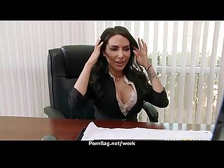 Busty babe fucking her boss in the office 3
