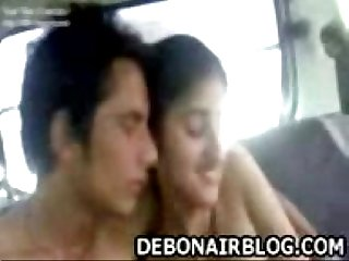 Young punjabi lovers kissing enjoying naked in car