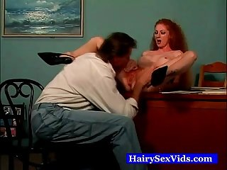 Red hairy nasty milf fingerfucked