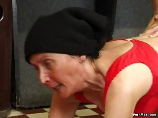 Hairy granny fucked on the pool table